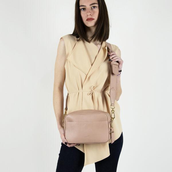 pink leather crossbody camera bag